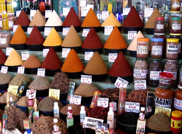 Spices on offer at a North African market