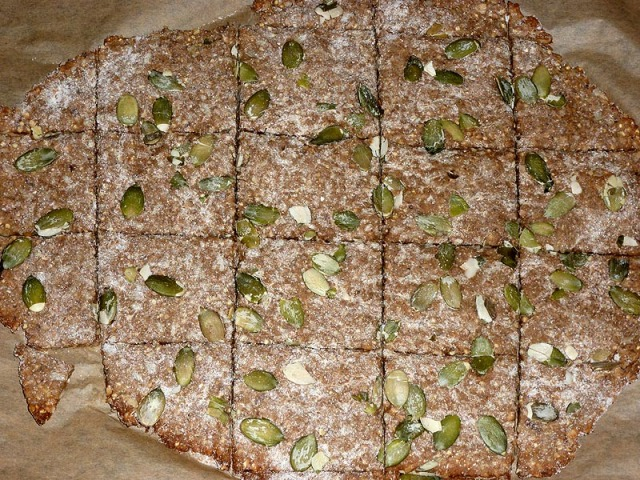Home-made hazelnut & pumpkinseed crackers just out of the oven