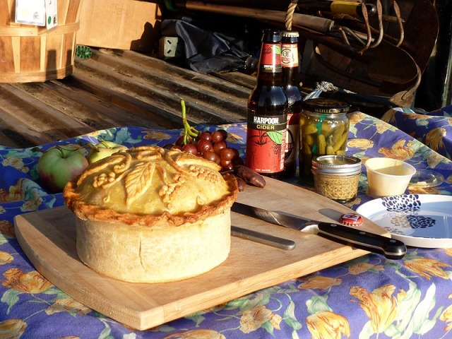 The Gala Pie, along ith mustards, pickles, beer, cider, along with some fruit and a bit of chocolate