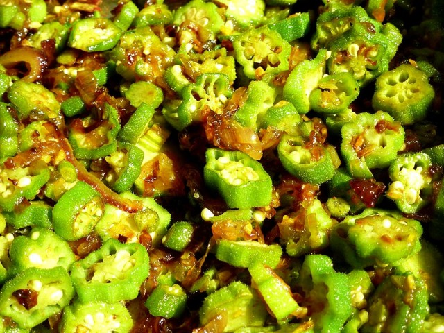 Burmese okra & shallots, nearly cooked